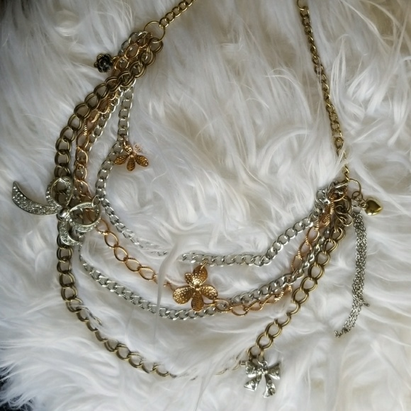 Express Jewelry Silver Gold And Rose Gold Statement Necklace